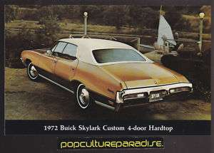 1972 BUICK SKYLARK CUSTOM 4 DOOR HARDTOP Car POSTCARD