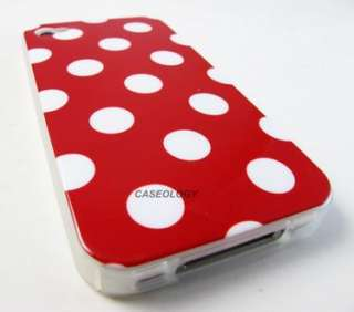 RED WHITE POLKA DOTS HARD GEL SKIN COVER CASE APPLE IPHONE 4 4s PHONE