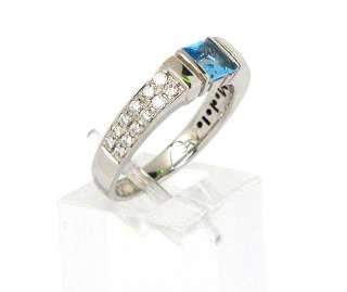VINTAGE 18K WHITE GOLD, DIAMONDS & BLUE TOPAZ DI MODOLO RING