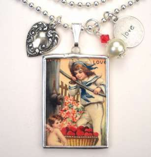 VALENTINES DAY SAILOR CUPID VINTAGE POSTCARD NECKLACE