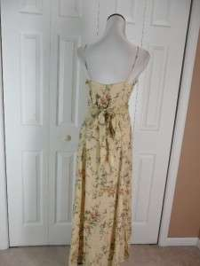 Laundry Shelli Segal Size 8 Long Floral Sleeveless Dress V Neck Rayon