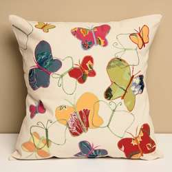 Butterfly Garden Embroidered Cotton Decorative Pillow Cover (India