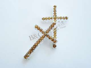 USA Stock 1PCS Curved Side Crystal Rhinestones Cross charms fit