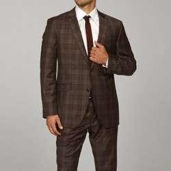 Ben Sherman Mens Slim Fit Brown Plaid Wool Suit