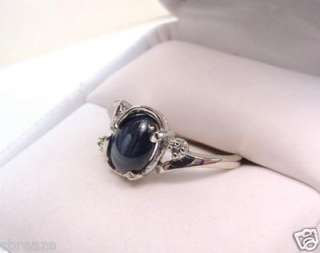 GENUINE BLUE STAR SAPPHIRE & DIAs 14K WHITE GOLD RING