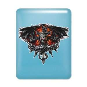 iPad Case Light Blue Dragon Sword with Skulls and Chains