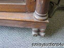 ANTIQUE OAK BOOK CASE CHINA DISPLAY CABINET PAW FEET, CARVED COLUMNS
