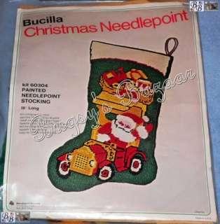 Vtg Bucilla SANTA IN ANTIQUE CAR Truck Needlepoint Christmas Stocking