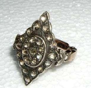 Antique Victorian Rose Cut 1 CT Diamond & 8K Gold Ring