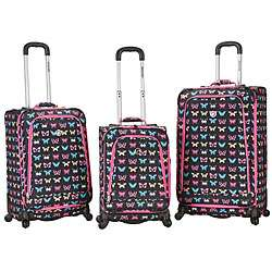 Rockland Deluxe Butterfly 3 piece Spinner Luggage Set