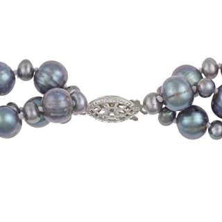 Sterling Silver Grey Freshwater Pearl Twisted Necklace (4 8 mm