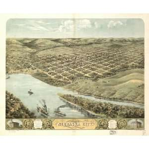 1868 birds eye map of city of Nebraska City, NE
