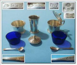 MUSTC Amazing Antique Sterling SILVER 1946 Salt Pepper & Mustard Set