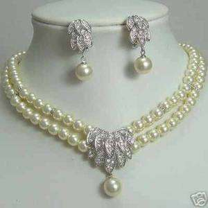 Comeliness Pearl Bridal Necklace Earring