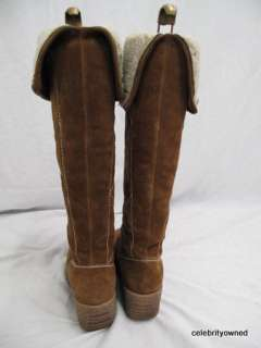 Michael Kors Tan Suede Shearling Wedge Boots 38