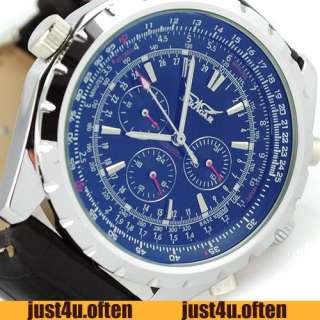 Blue Date Day 3 Subdials Leather Mens Automatic Mechanical Wrist Watch
