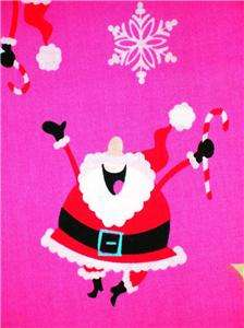 Santa Claus Sleigh Fabric BTY Christmas Xmas Candy Cane Snowflake Pink
