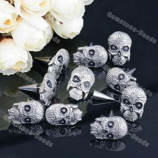 10Pc Stainless Steel Halloween Skull Spike Earring Stud