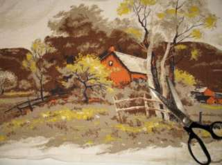 FARM BARN TREE COUNTRY WESTERN LANDSCAPE BARKCLOTH DRAPE FABRIC