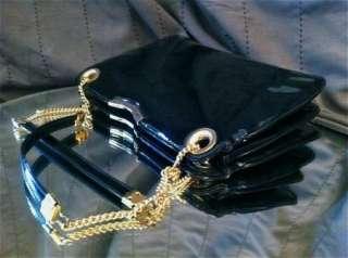 Womens Purses Patent Leather Handbag Black Clutch Chain Shoulder Bag