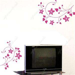 TV background   vine flower removable vinyl wall decals