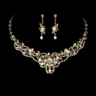 & Unique Freshwater Pearl & Crystal Wedding Bridal Gold Jewelry Set