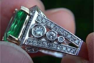 78 Carat Natural VS Colombian Emerald Diamond Ring 14k Gold GEM