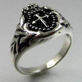 BIKER STAINLESS STEEL CROWN&CROSS MENS RING