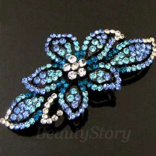 1 pc rhinestone crystal flower hair barrette clip
