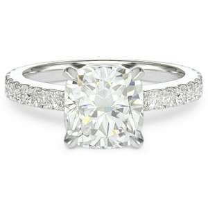 08 ct G SI1 CUSHION CUT DIAMOND MICRO PAVE RING WG