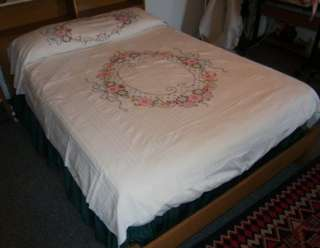 Embroidery Applique Spring FLORAL Seersucker Bedspread Full Twin #2