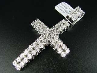 ROW MENS WHITE GOLD FINISH XL DIAMOND CROSS PENDANT