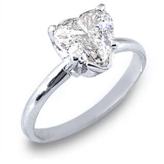 SOLITAIRE HEART SHAPE CUT DIAMOND ENGAGEMENT RING WHITE GOLD
