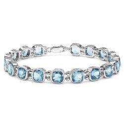 Sterling Silver Cushion cut Blue Topaz Link Bracelet