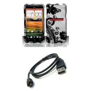 HTC EVO 4G LTE (Sprint) Premium Combo Pack   Black Wild Orchid Flower
