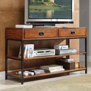 Home Styles Modern Craftsman Media Console in Distressed Oak