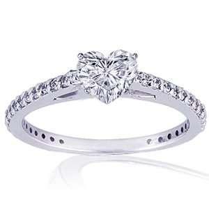 1.45 Ct Heart Shaped Diamond Engagement Ring VS2 E EGL