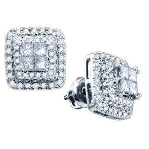 14K White Gold 1.04 Ctw Diamond Bellagio Invisible Earrings Jewelry