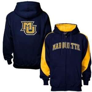 Marquette Golden Eagles Navy Blue Full Zip Varsity Hoody