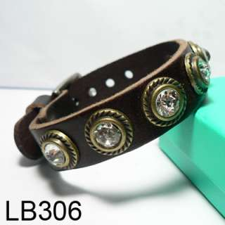 New Design Wholesale Lots Wristband Genuine Leather Crystal Bracelet