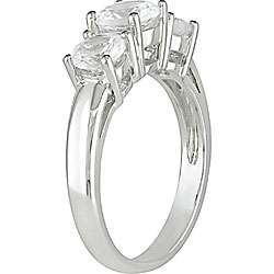 10k White Gold Created White Sapphire 3 stone Ring