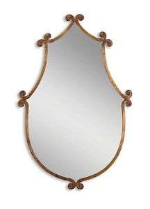 IRON Gold Country CHIC WALL Vanity Mantle SCROLL MIRROR