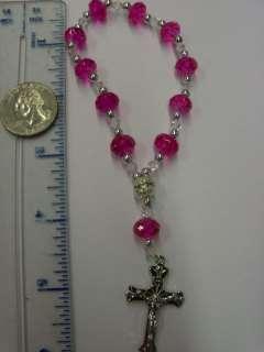 new HOT PINK bracelet rosary wedding favors remembrance