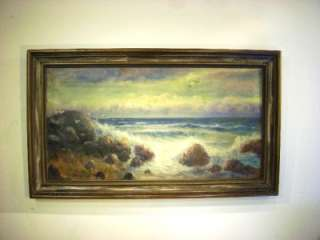 ANTIQUE OIL PAINTING CANVAS SEASCAPE LANDSCAPE ART SG