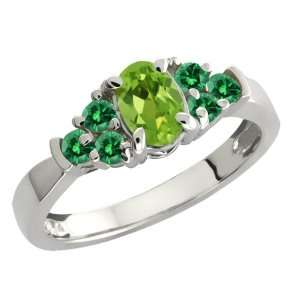0.74 Ct Oval Green Peridot and Green Diamond Sterling