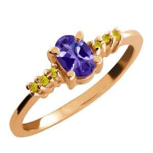 0.49 Ct Oval Blue Tanzanite and Canary Diamond 14k Rose