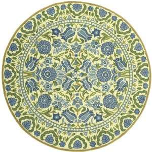 Dazzle Blue & Green Floral 100% Wool 3 Round Area Rug