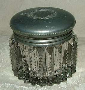Antique Pewter Top Notched Prism Cut Crystal Vanity Jar