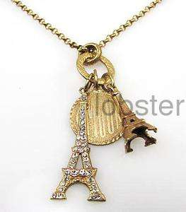 CATHERINE POPESCO GOLD EIFFEL TOWER AMOUR CHARMS NECKLACE w SWAROVSKI