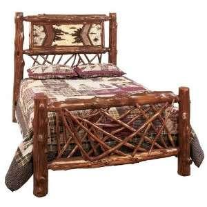 Lodge Hickory Log Bed wih Rusic Alder Rails   Queen Home & Kichen
